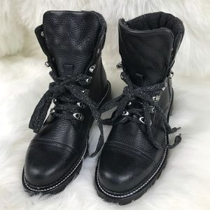 Frye black leather lace up combat boots